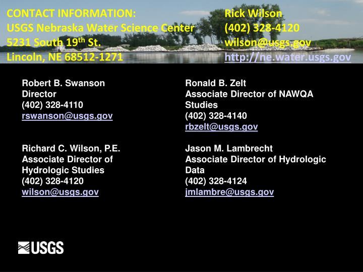 CONTACT INFORMATION:  Rick Wilson