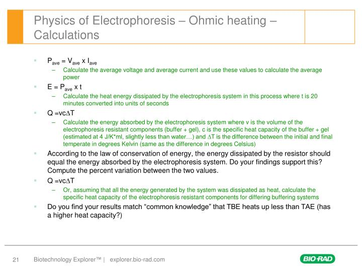 Physics of Electrophoresis – Ohmic heating – Calculations