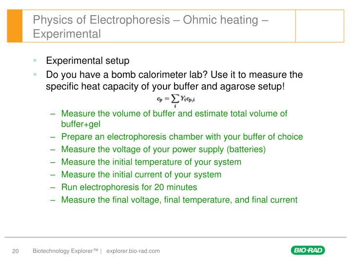 Physics of Electrophoresis – Ohmic heating – Experimental