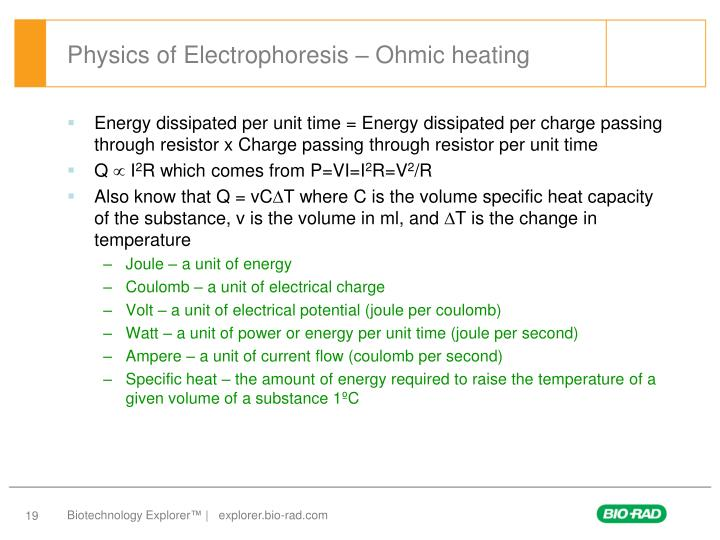 Physics of Electrophoresis – Ohmic heating