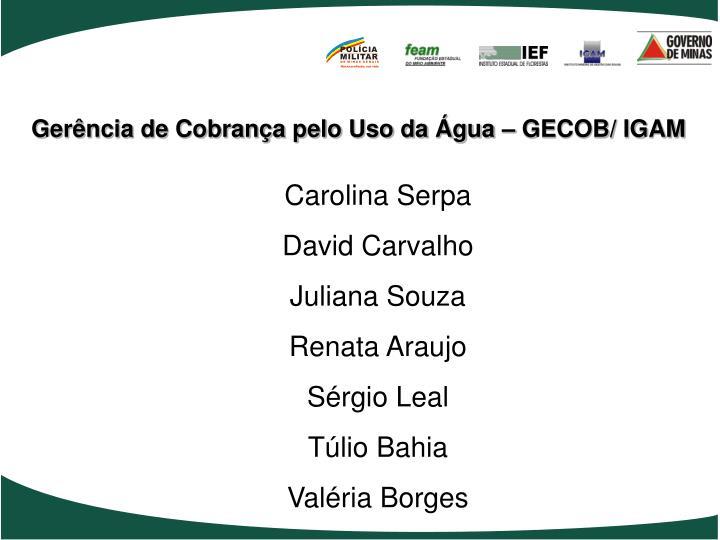 Gerência de Cobrança pelo Uso da Água – GECOB/ IGAM