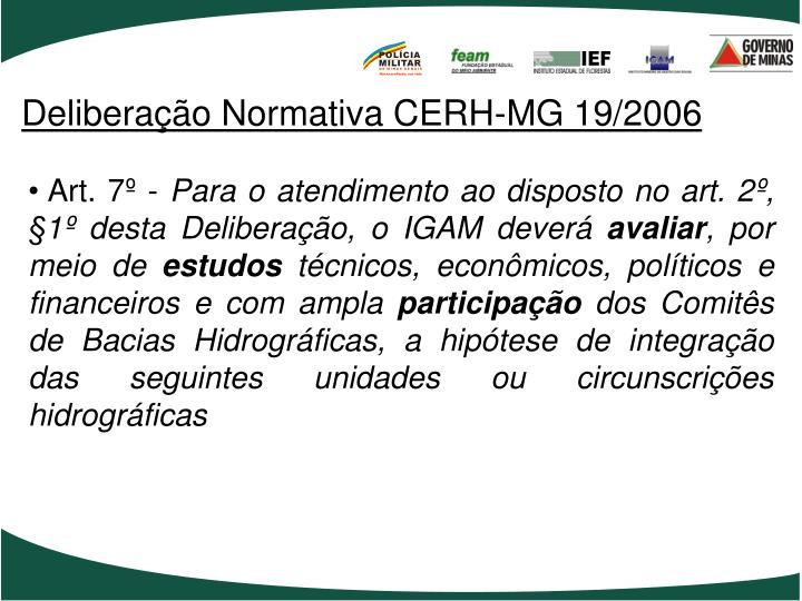 Deliberação Normativa CERH-MG 19/2006