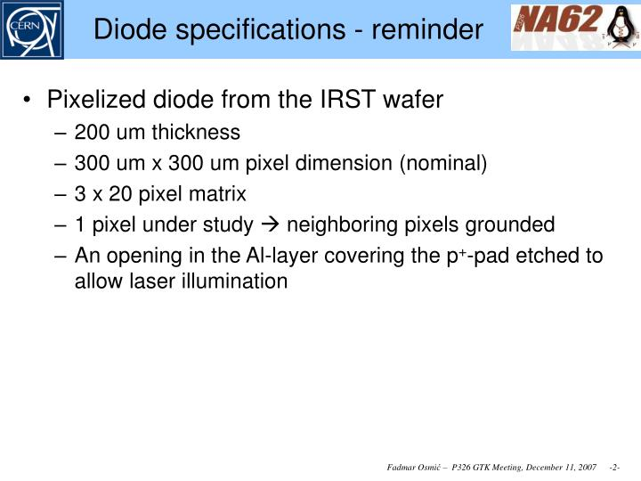Diode specifications reminder