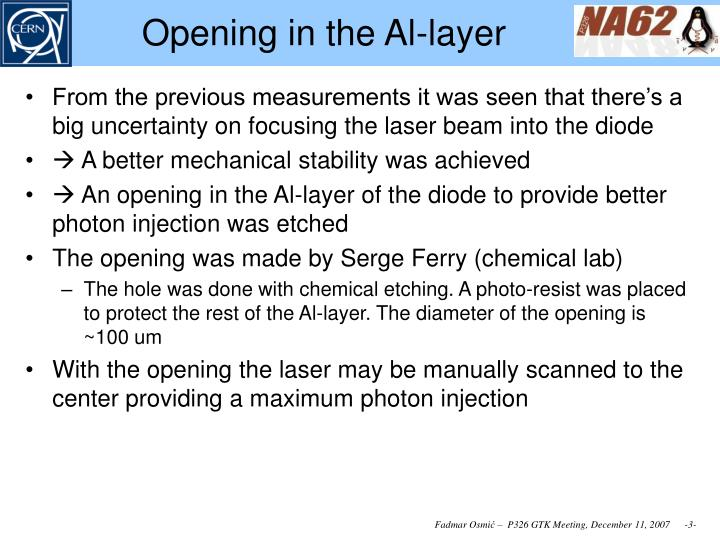 Opening in the al layer