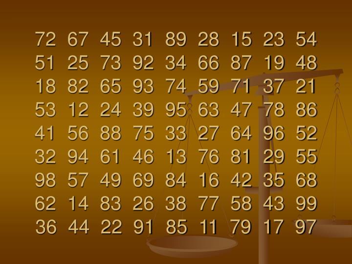 72  67  45  31  89  28  15  23  54