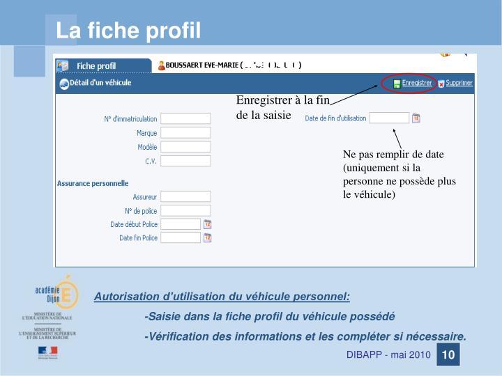 La fiche profil