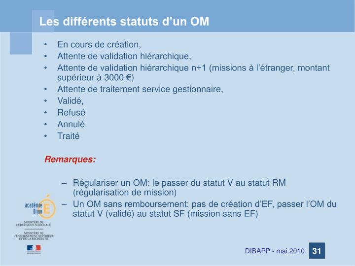 Les différents statuts d'un OM