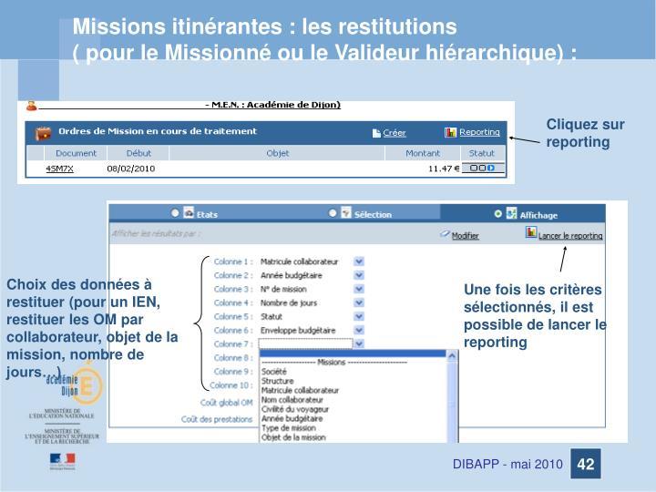 Missions itinérantes : les restitutions