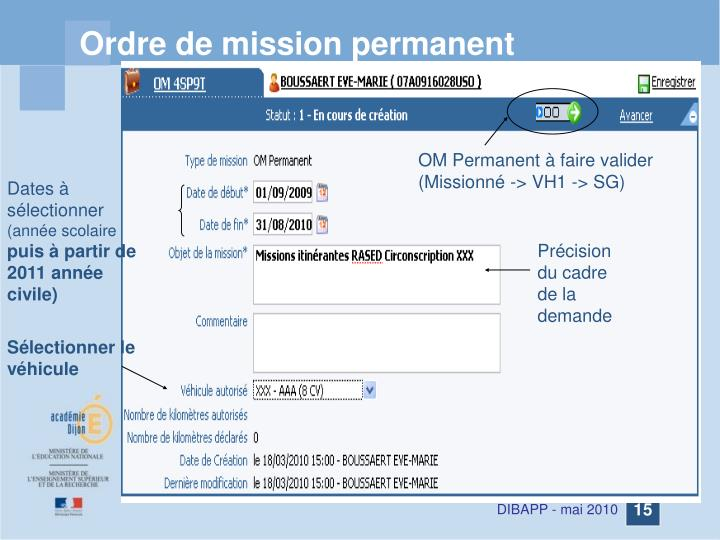 Ordre de mission permanent