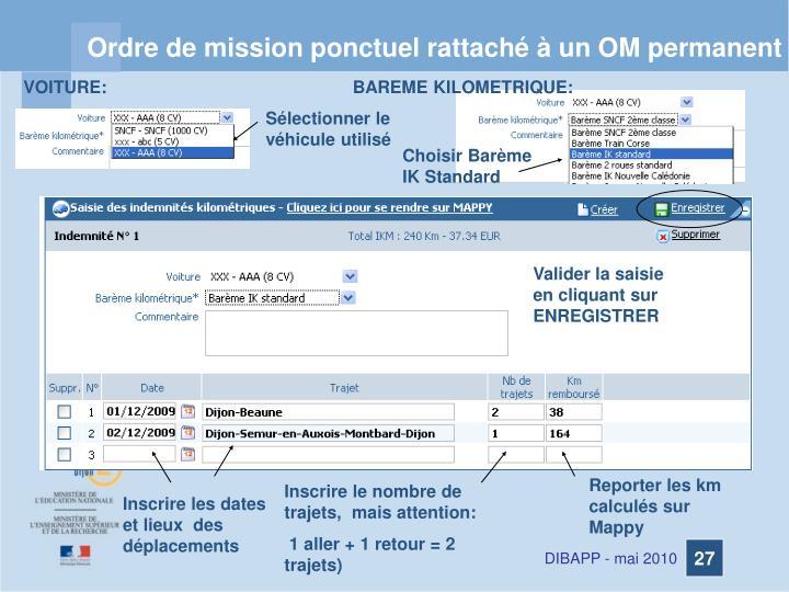 Ordre de mission ponctuel rattaché à un OM permanent