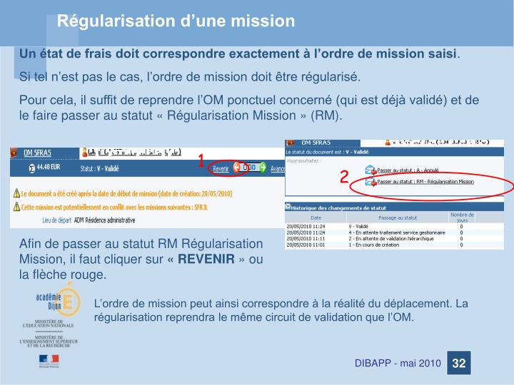 Régularisation d'une mission