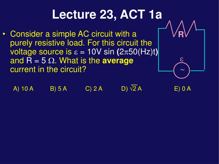 Consider a simple AC circuit with a purely resistive load. For this circuit the voltage source is