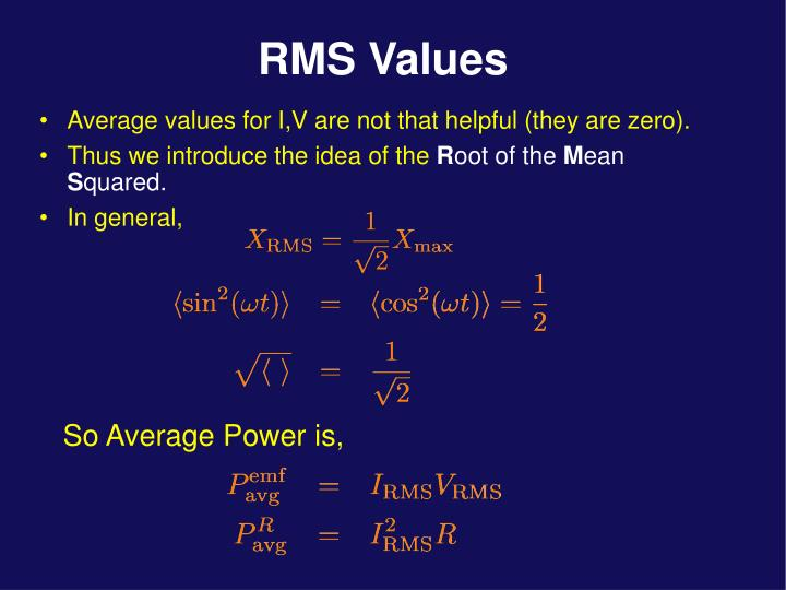 Average values for I,V are not that helpful (they are zero).