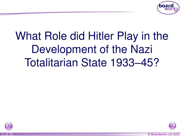 What Role did Hitler Play in the Development of the Nazi Totalitarian State 1933