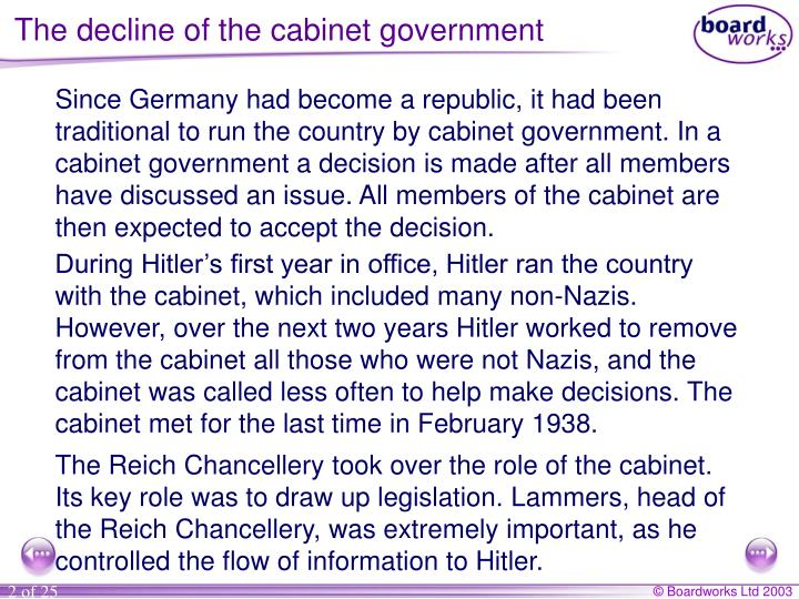 The decline of the cabinet government