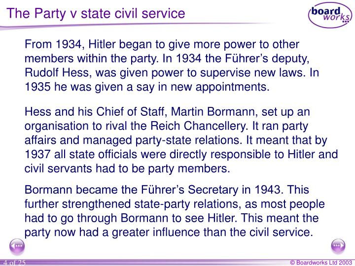 The Party v state civil service