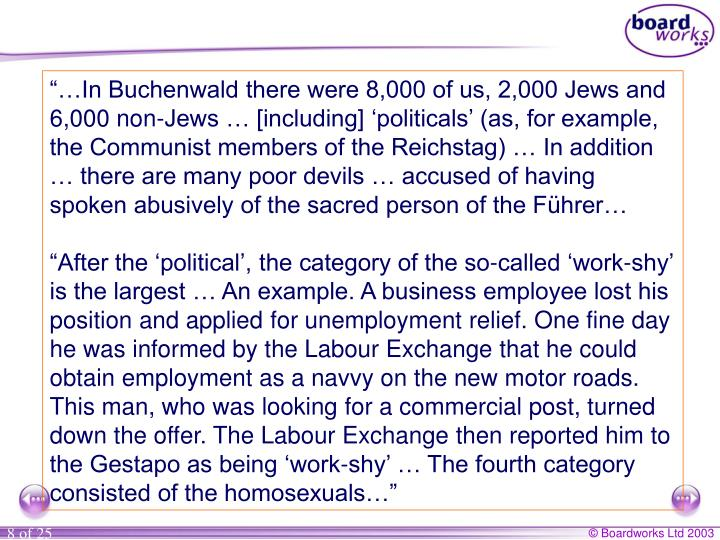 """…In Buchenwald there were 8,000 of us, 2,000 Jews and 6,000 non-Jews … [including] 'politicals' (as, for example, the Communist members of the Reichstag) … In addition … there are many poor devils … accused of having spoken abusively of the sacred person of the Führer…"
