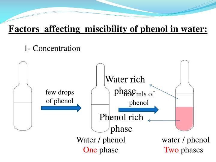 Factors  affecting  miscibility of phenol in water: