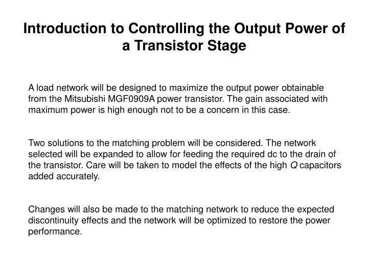 Introduction to Controlling the Output Power of a Transistor Stage