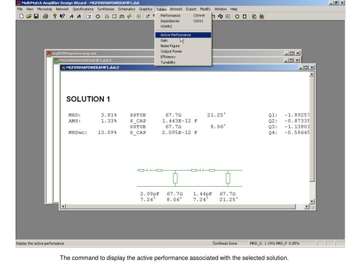 The command to display the active performance associated with the selected solution.