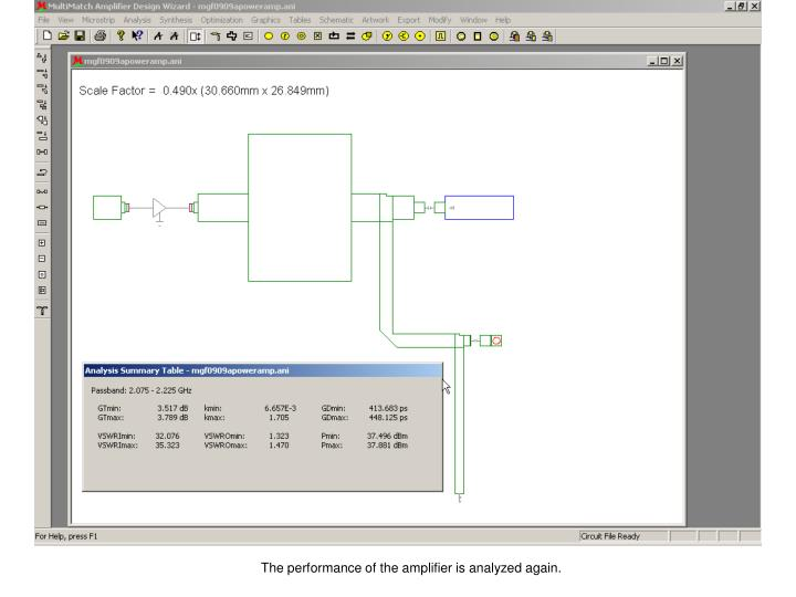 The performance of the amplifier is analyzed again.