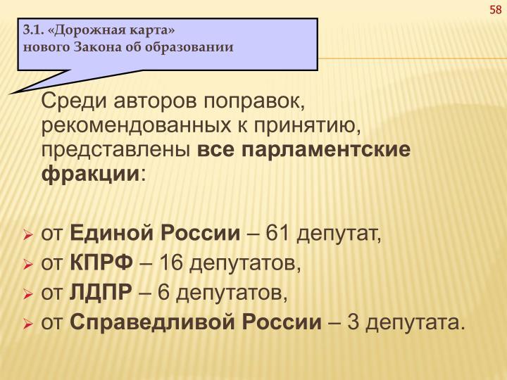 Среди авторов поправок, рекомендованных к принятию, представлены