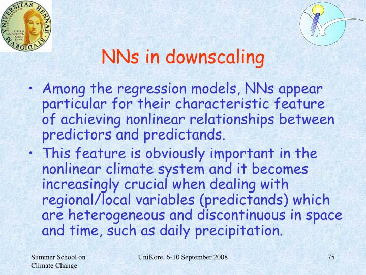 NNs in downscaling