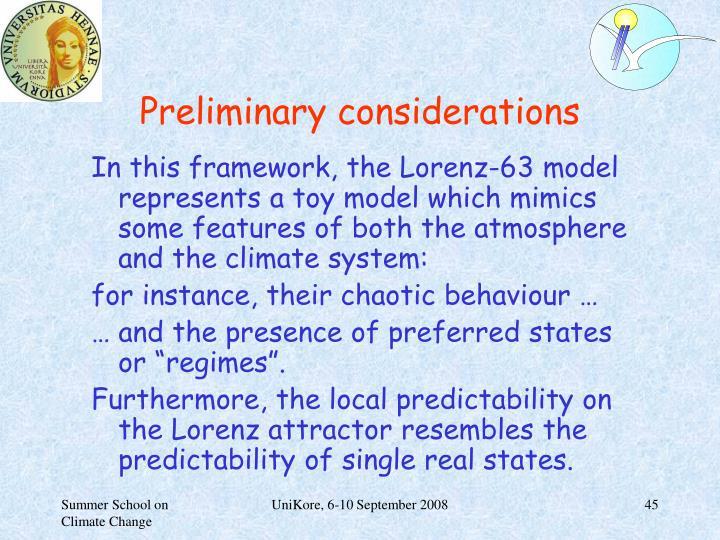 Preliminary considerations