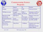 commissioning science programs