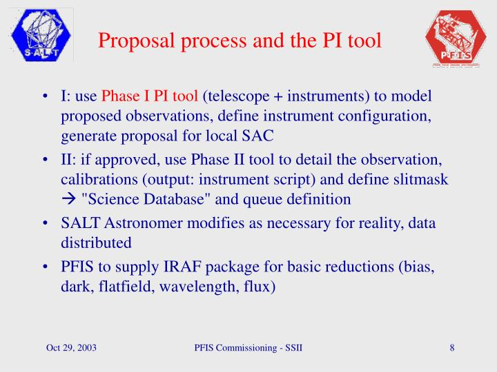 Proposal process and the PI tool