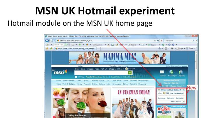 MSN UK Hotmail experiment