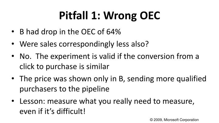 Pitfall 1: Wrong OEC