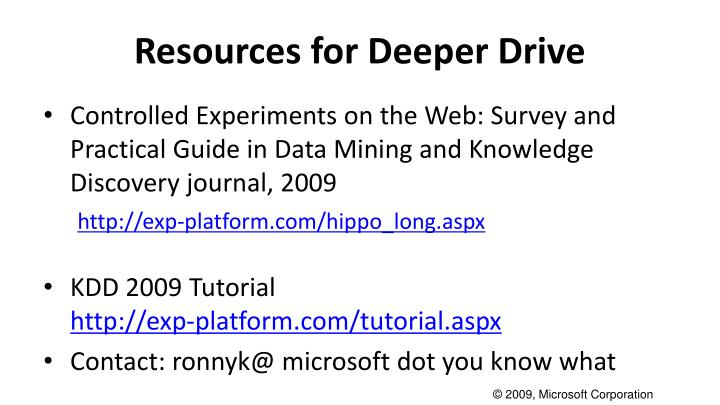Resources for Deeper Drive