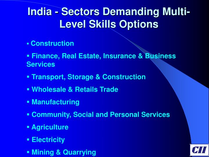 India - Sectors Demanding Multi- Level Skills Options