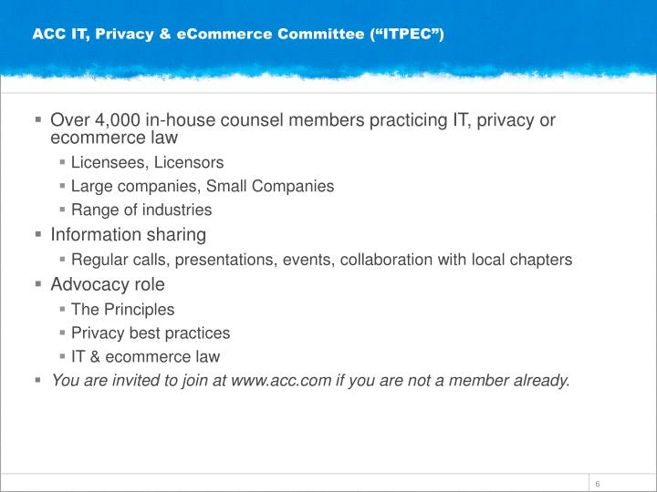 "ACC IT, Privacy & eCommerce Committee (""ITPEC"")"