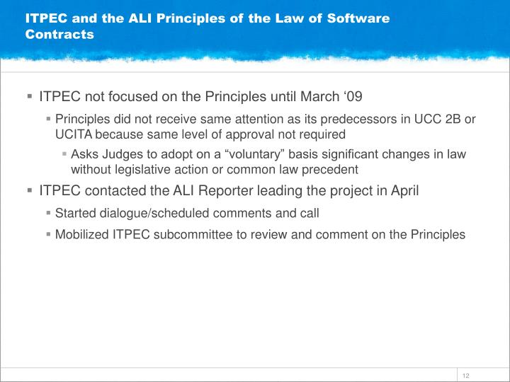 ITPEC and the ALI Principles of the Law of Software Contracts