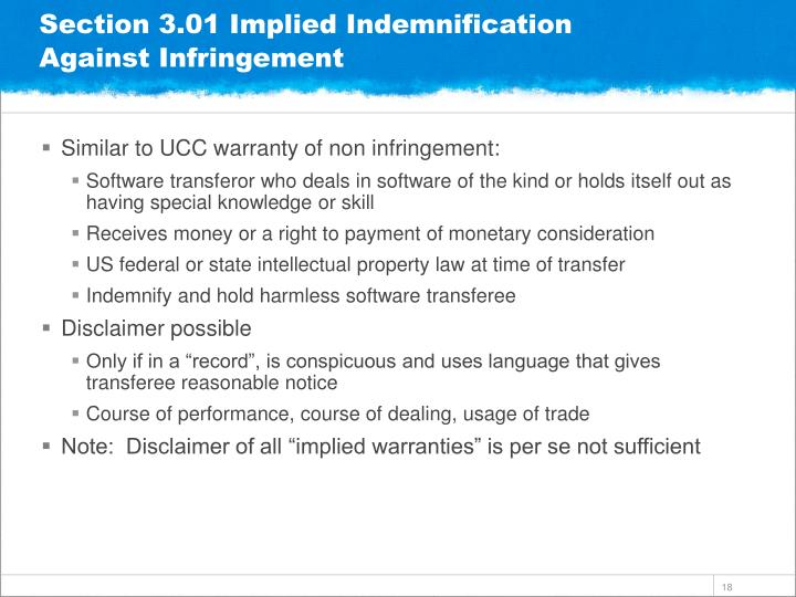 Section 3.01 Implied Indemnification Against Infringement