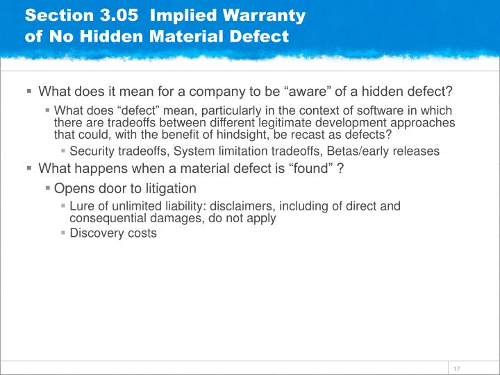Section 3.05  Implied Warranty