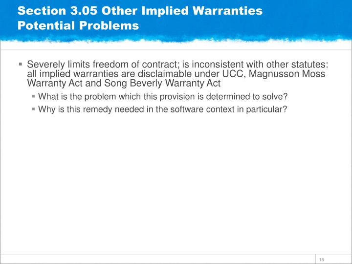 Section 3.05 Other Implied Warranties