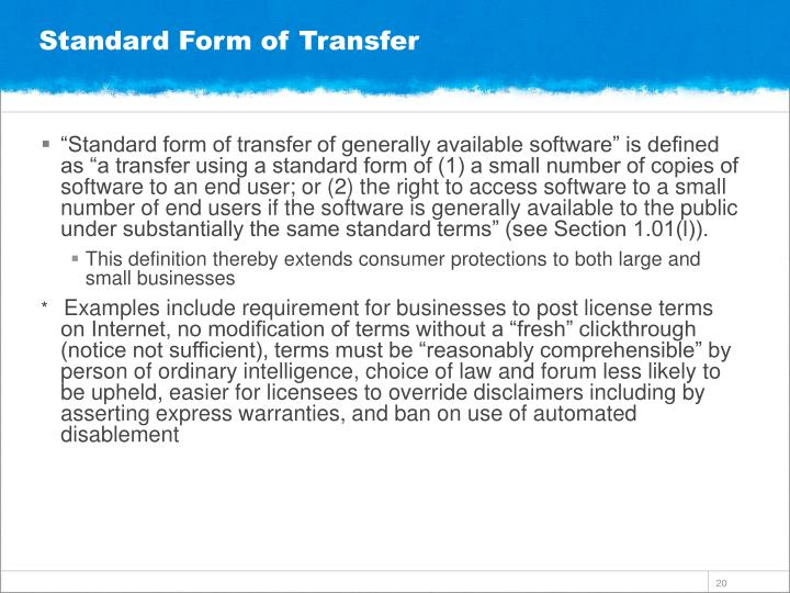 Standard Form of Transfer