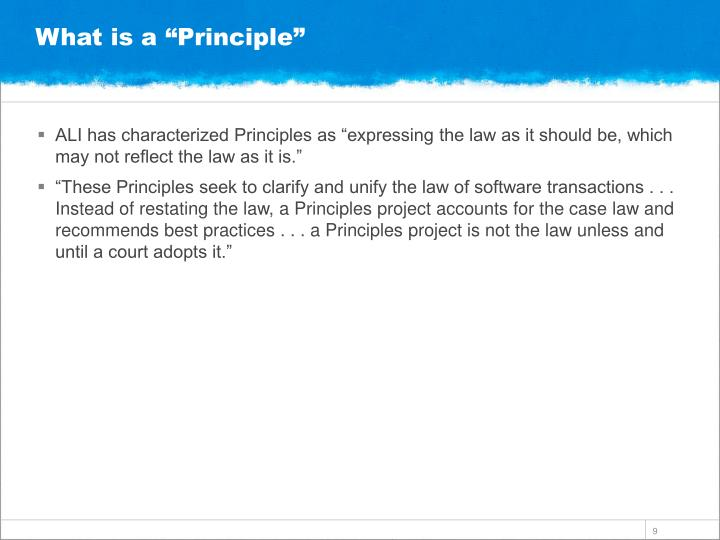 "What is a ""Principle"""