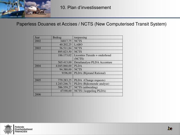 10. Plan d'investissement