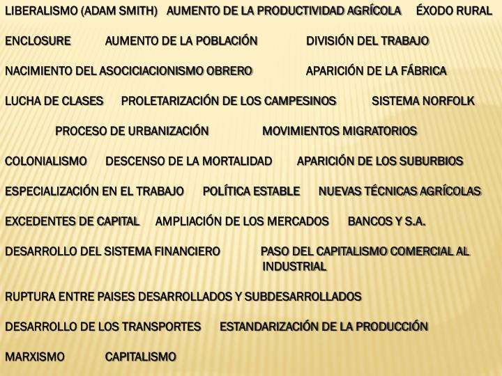 LIBERALISMO (ADAM SMITH)   AUMENTO DE LA PRODUCTIVIDAD AGRÍCOLA   ÉXODO RURAL