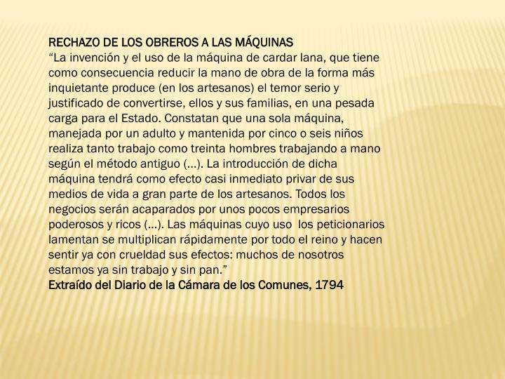 RECHAZO DE LOS OBREROS A LAS MÁQUINAS