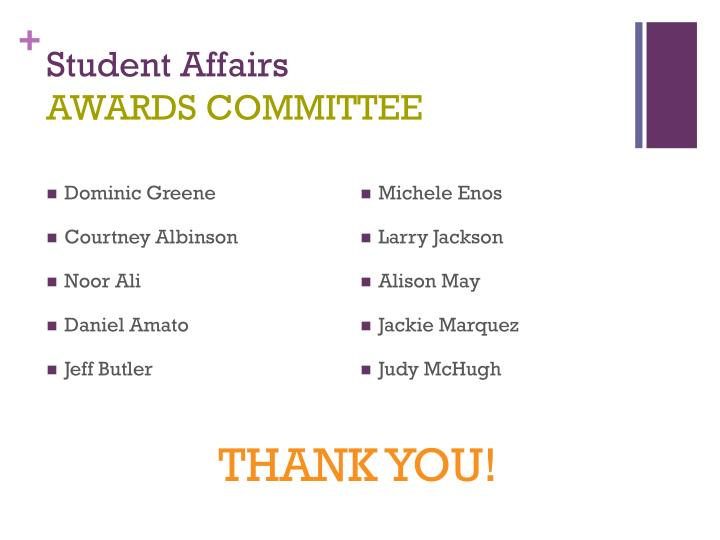 Student affairs awards committee