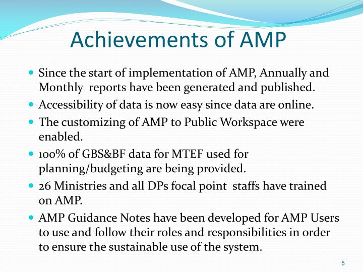 Achievements of AMP