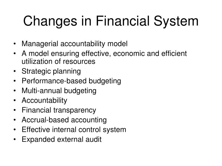 Changes in financial system