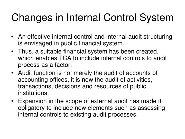 Changes in Internal Control System