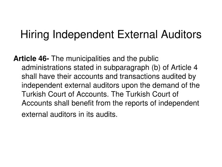 Hiring Independent External Auditors