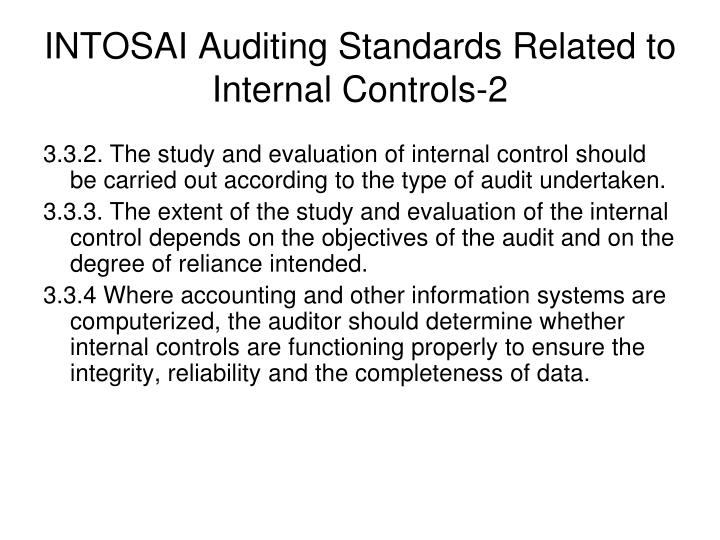 INTOSAI Auditing Standards Related to Internal Controls-